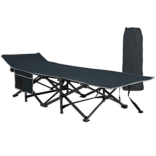 Homevibes Folding Lightweight & Portable Camping Cot with Carry Bag for Adults,Heavy Duty Stable Deluxe Collapsible Large Sleeping Bed for Hiking Hunting Traveling, 5 Colors (Black)