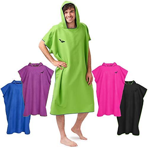 Fit-Flip Poncho de Surf – Ligero y Compacto – Toalla de Poncho para Adultos – Poncho Playa, Poncho de Microfibra para Hombres y Mujeres – Albornoz Natacion – Color: Verde-Azul Oscuro, Tamaño: M 🔥