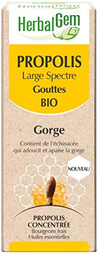 HerbalGem - Propolis Concentrée - Large Spectre Gouttes Bio - Dès les Premiers Signes du Refroidissement - 15 ml