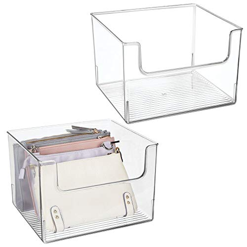 """mDesign Plastic Open Front Closet Home Storage Organizer Bin Box Container - for Bedroom, Cube Furniture Shelving Units - Holds Men's, Women's, Kids Clothing, Accessories - 12"""" Wide - 2 Pack - Clear"""