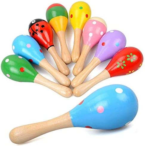 E lishine Mini Wooden Maracas Rattles Egg Shaker Kids Musical Party Favor Kid Baby Shaker Sand product image