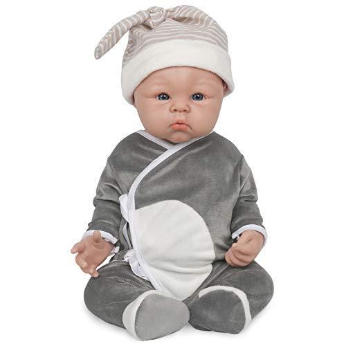 Vollence 48 cm Vollsilikon Babypuppe, Keine Vinylpuppen, Echte Babypuppen, Realistische Reborn Babypuppen, Lebensechte Babypuppe, Neugeborene Babypuppe - Junge