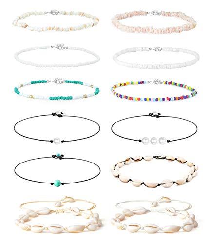 Finrezio 12Pcs Puka Shell Choker Necklace for Women Girls Handmade Bohemian Hawaiian Seashell Beach Beaded Pearl Necklace Set