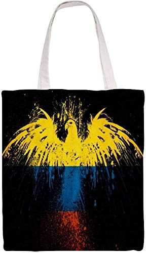 Colombia Flag Eagle Shoulder Bag Canvas Tote Bag, Reusable Grocery Shopping Cloth Bags, Double-sided Printing Tote Handbags