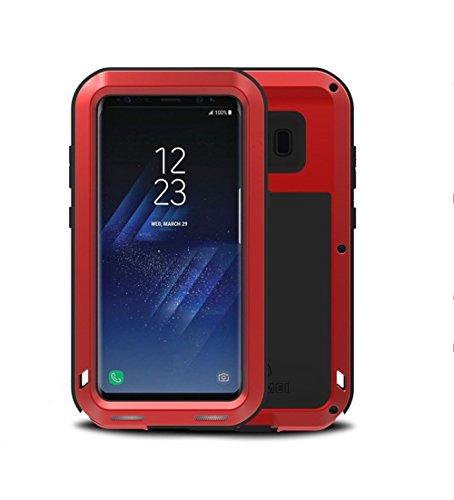 LOVE MEI Funda para Samsung Galaxy S8 Plus, Marca Aluminum Silicone Metal híbrido Carcasa,Cover, Funda para Samsung Galaxy S8 + (Rojo)