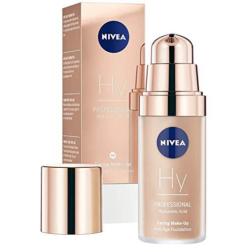 NIVEA PROFESSIONAL Hyaluronsäure Anti-Age Make-Up Foundation, 50C, kühler Hautton, Anti-Aging Foundation mit hochwirksamer Anti-Falten-Pflege, Kombi-Make-Up mit 3-fach Anti-Age Effekt, 1 x 30 ml