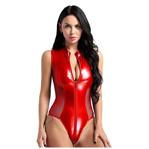 easyforever Women's Shiny Metallic Patent Leather Sheer Mesh Zipper Crotch Thong Leotard Bodysuit Swimsuit