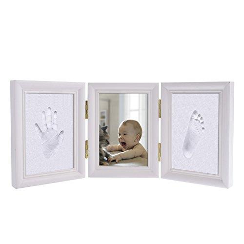 FLOWOW Bianco Impronta Bambino neonato cornice piedi mani impronta bambini cornice legno portafoto Porta Foto Impronte Neonato Perfetto regalino Ricordo Regalo