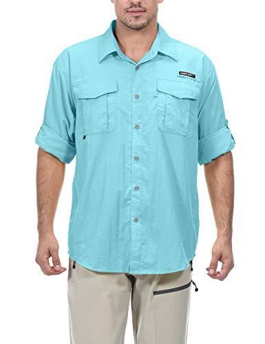 Little Donkey Andy Camisa de manga larga para hombre, protección UV, transpirable y de secado rápido, S, Azul / Patchwork