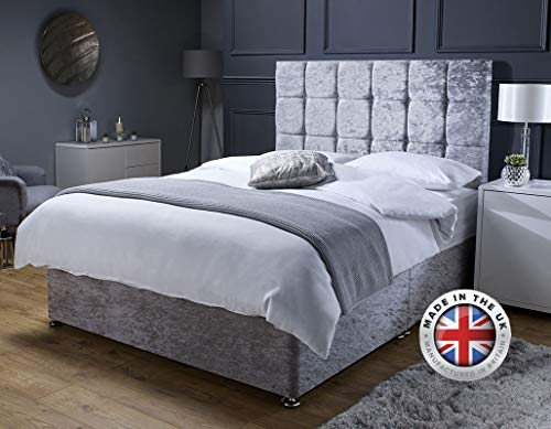 Revive Direct Premium - Silver Crush Velvet Double Bed with Mattress, Headboard and 2 Storage Drawers - Memory Foam Mattress Included - (4ft6 Double - 2 Drawers)