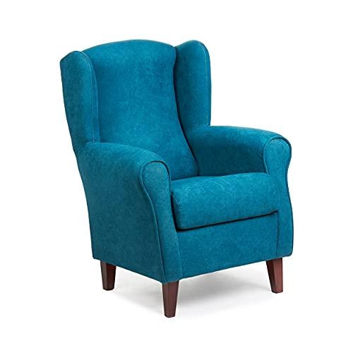 Sillón Orejero pequeño, con Tela Antimanchas, de reducido tamaño para salón o Dormitorio (Tamaño: 100 * 74 * 77 cm) Tapizado en Azul Oscuro ELECTRICO. Butaca Ideal para Ver la TV, Leer o Lactancia.