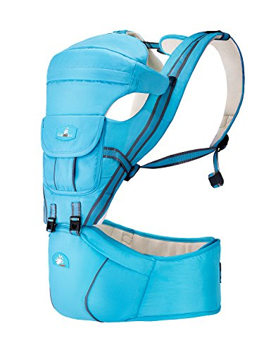 All Seasons 360 Ergonomic Baby Carrier 7 Positions Infant & Toddlers Compatible Hip Seat Lightblue