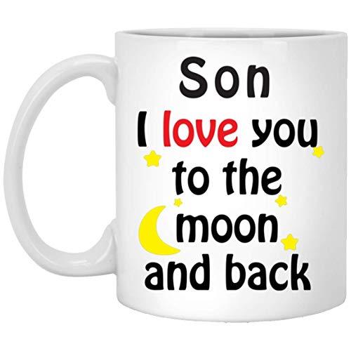 Taza de café blanco con texto en inglés 'Son I Love You to The Moon and Back', 325 ml