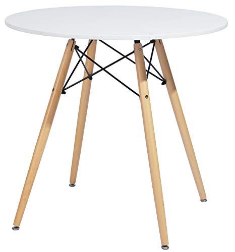 DORAFAIR - Tavolo da pranzo rotondo in stile scandinavo, bianco, 80*80*74cm