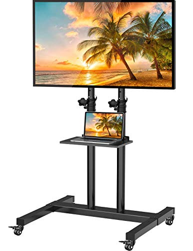 Mobile TV Stand with Wheels for 32-60 Inch LED Flat/Curved Panel Screen TVs Tilting TV Cart Height Adjustable Max VESA 600×400mm Rolling Floor Trolley Stand w/Shelf Supports TV up to 99lbs - PGTVMC03
