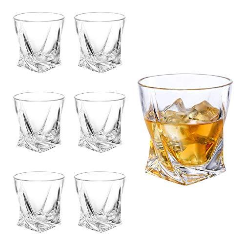 Whiskey Gläser 6er Set, Edles Kristallglas 300ml, Perfekt für Zuhause, Restaurants und Partys, Benutzt für Hausbar/Vitrine, Whiskey Glas zum Verschenken, A