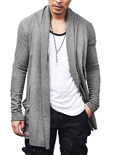 COOFANDY Men's Ruffle Shawl Collar Cardigan Lightweight Cotton Blend Long Length Drape Cape Overcoat Grey