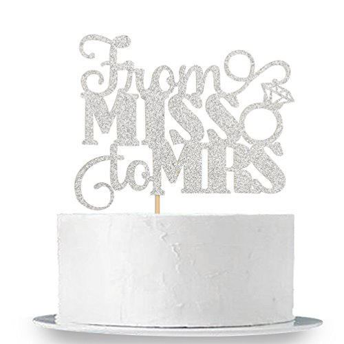Silver Glitter From Miss To Mrs Cake Topper - Bridal Shower Party Decorations Supplies