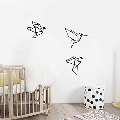 Kjlfow Calcomanía geométrica de Origami para decoración de Dormitorio Infantil, Pegatina de Vinilo de pájaro Volador 57x34