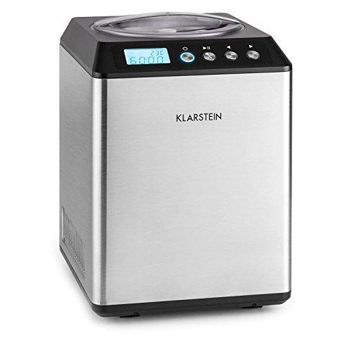 Klarstein Vanilla Sky - Macchina per Gelato, Funzione di Raffreddamento, Timer, 30-40 min, Display LED, Facile da Pulire, Acciaio Inox, Cucchiaio, 250 Watt, Capacità: 2,5 Litri, Argento