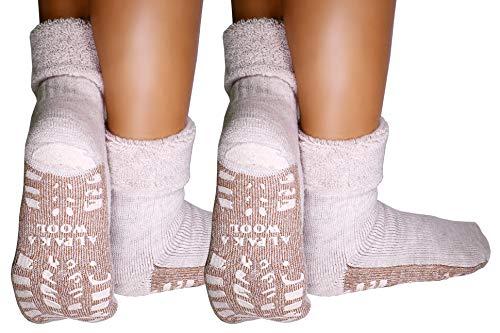dunaro 2 Paar ABS Anti Rutsch Socken Alpaka Socken Stoppersocken Noppensocken Damen und Herren (2 Paar / 39-42 Beige)