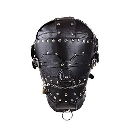 XXYHYQHJD All-Inclusive-Maske Schwarz Stage Prop Leder Maske Rückhaltekopfbedeckung Schnürung Zurück Gehirn Metallschnalle und Schloss
