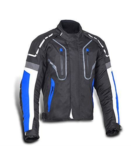 JET Chaqueta Moto Hombre Textil Impermeable con Protecciones Alto Rendimiento DAYTONA (M (EU 48-50), Azul)