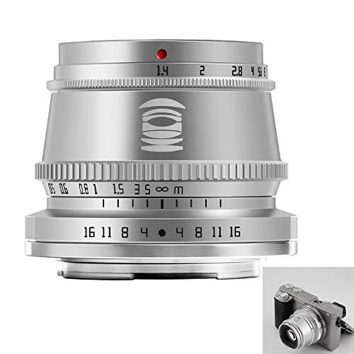 TTArtisan Objetivo de 35 mm F1.4 APS-C MF compatible con cámaras E-Mount A5000, A5100, A6100, A6300, A6400, A6500, A6600, NEX A7, A7I, A7RIV, A7S, A7SII, A9 y más (plateado)