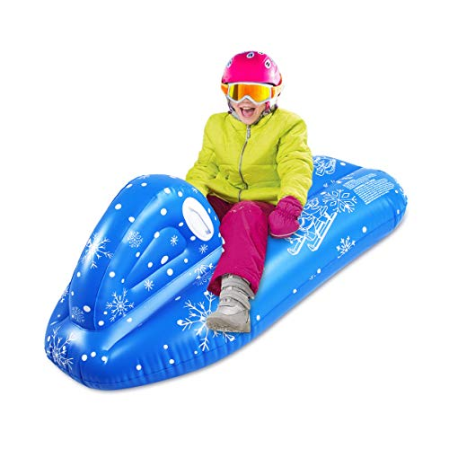 SUNSHINE-MALL Snow Tube for Kids,Snow sled for Adult, Snow Toys for Kids,Heavy Duty Inflatable Snow Tube Sled for Kids and Adults, Giant Snow Toys for Winter Sport Fun (Ski Boat 120x68x50cm)