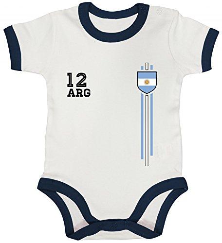 ShirtStreet Argentinia Soccer World Cup Fussball WM Fanfest Gruppen Ringer Strampler Baumwoll Baby Body kurzarm Jungen Mädchen Streifen Trikot Argentinien, Größe: 12-18 Monate,White/Nautical Navy