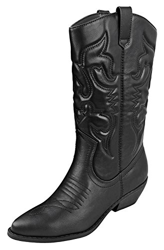 Soda Women's Red Reno Western Cowboy Pointed Toe Knee High Pull On Tabs Boots Black (8.5)