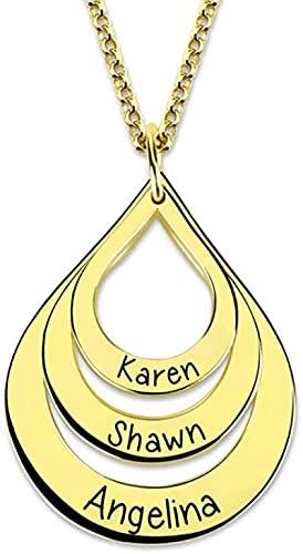 Collar YCHZX de plata esterlina 925 Collar con nombre personalizado Forma de gota tallada Collar con 3 nombres Plata de ley 925 Regalo de amante de la madre Oro