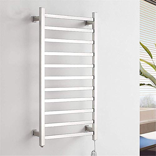 MNBVC Calentador de Toallas, Calentador de Toallas Caliente para baño, Estante de Secado con calefacción, 11 Barras cuadradas, Pulido de Espejo, Acero Inoxidable, 130 W, cableado