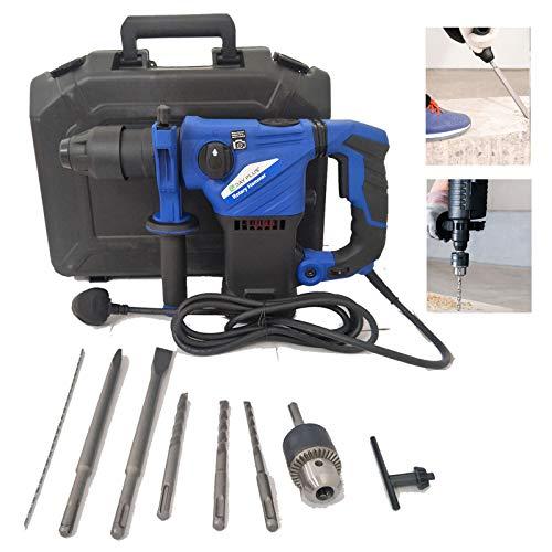 Bohrhammer mit SDS Plus Aufnahme 1500W Abbruchhammer mit 360 °Drehgriff 6 Variable Geschwindigkeit 8 Bohrhammer-Zubehör 3 Funktion in 1 Mehrzweck Bohrhammer
