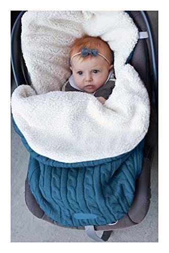 Bidema Swaddle Wrap Manta del bebé recién Nacido Punto de Ganchillo de algodón del Saco de Dormir con Capucha Suave y cómoda una Variedad de Patrones se Pueden Seleccionar (Color : Azul)