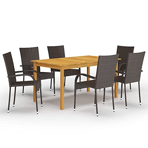 vidaXL Gartenmöbel Set 7-TLG. Sitzgruppe Sitzgarnitur Gartengarnitur Esstisch Tisch Stühle Gartentisch Gartenstuhl Sessel Gartenset Braun