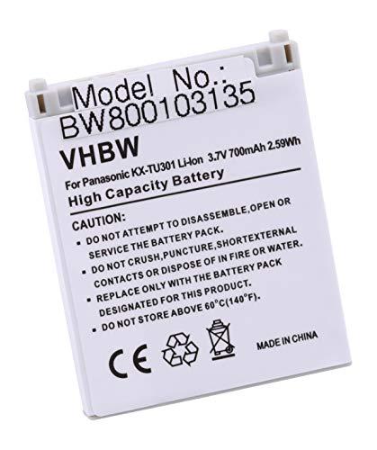 vhbw Li-Ion Akku 700mAh (3.7V) für schnurlos Festnetz Handy Panasonic KX-TU301, KX-TU301 GME, KX-TU311, KX-TU320 wie CGA-LB102.