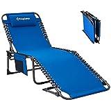 KingCamp Tumbona reclinable de 4 posiciones, ajustable, plegable, resistente, para camping, cama plegable con almohada y bolsillo para patio, jardín, playa, piscina, tienda de campaña.