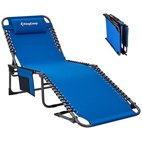 KingCamp Campingliege Sonnenliege Gartenliege Camping-Klappbett mit verstellbarem Rückenteil und Kopfkissen für Garten Urlaub Outdoor Blau