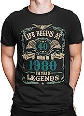 Mens 40th Birthday Gift - Life Begins at 40 Mens T-Shirt - Born in 1980