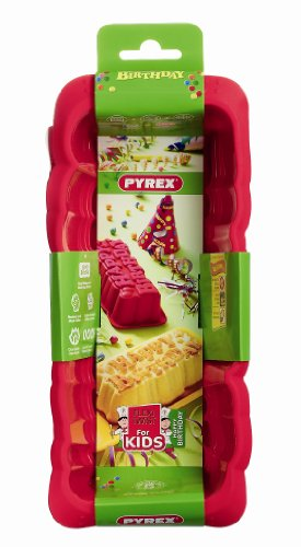 Pyrex 4936943 Moule Happy Birthday Flexi Twist Kids Silicone Rouge