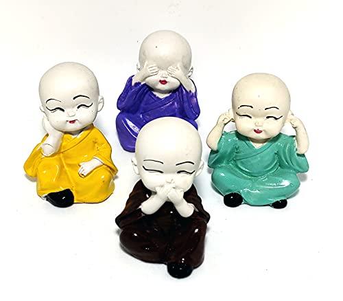Sawcart Set of 4 Baby White Buddha Monks Idol Figurine Decorative Miniature Showpiece Feng Shui Statue for Car Dashboard, Home & Office Décor, Table, Wall Shelf