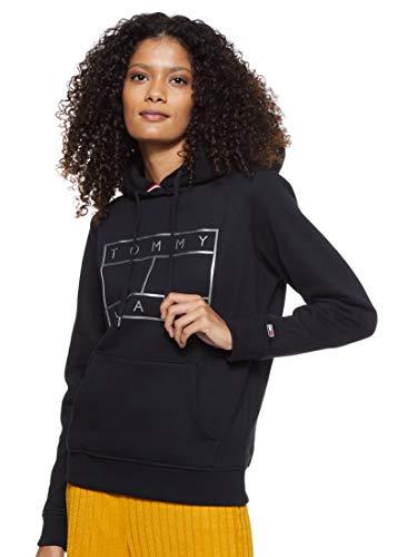 Tommy Jeans Damen Tjw Essential Logo Hoodie Strickjacke, Schwarz (Black Bbu), 36 (Herstellergröße: Medium)