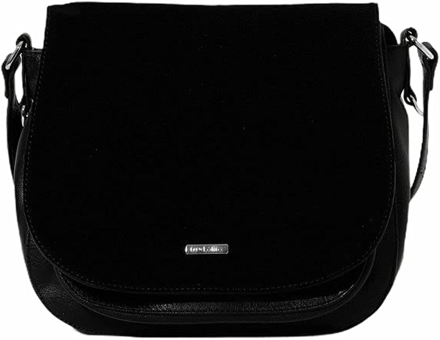 Crossbody Saddle Bag with Suede One Size Black