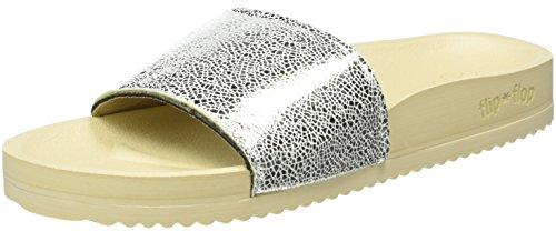 flip*flop Damen Pool Metallic Cracked Pantoletten, Silber (Silber 906), 41 EU