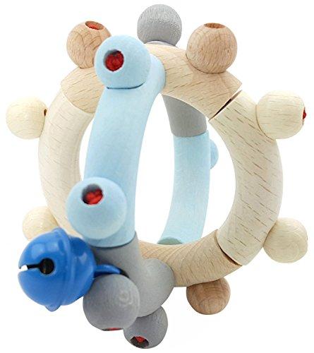 Hess Spielzeug Hochet en bois Boule hochet bébé, bleu
