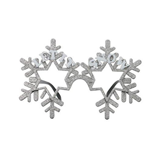 OULII Weihnachten Party Brillen Schneeflocken für Weihnachten X Mas Kostüm Kinder Mitgebsel (Silber)