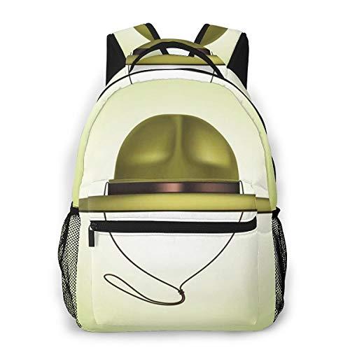 Laptop Rucksack Schulrucksack Khaki Pfadfinderhut, 14 Zoll Reise Daypack Wasserdicht für Arbeit Business Schule Männer Frauen