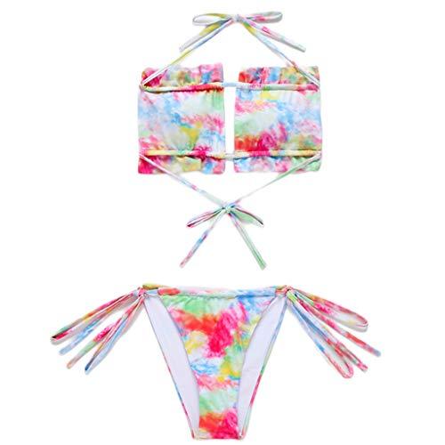 Qiman Bikini sexy de 2 piezas para mujer, sin tirantes, sin tirantes, con volantes, arco iris, con estampado de leopardo, fijación lateral, traje de baño para la playa