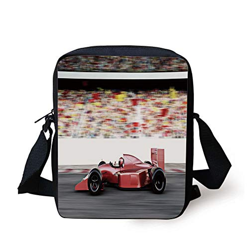 FFLISHD Cars,Motor Sports Red Race Car Side View on a Track Leading the Pack with Motion Blur,Gray Red Black Print Kids Crossbody Messenger Bag Purse